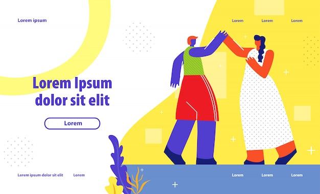 Menselijke ondersteuning landing page flat template