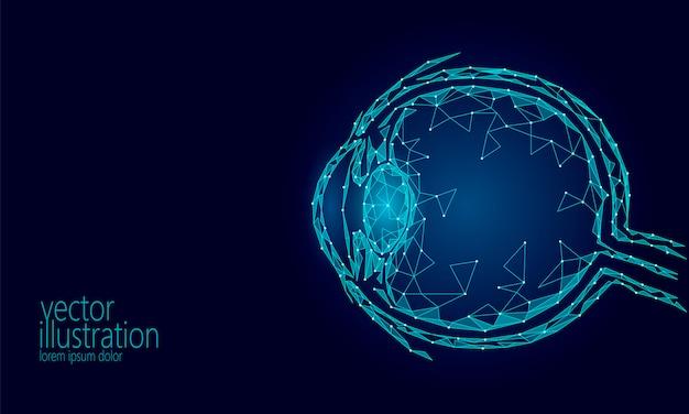 Menselijke oogbal 3d render laag poly, veelhoekige blauwe toekomstige geneeskunde