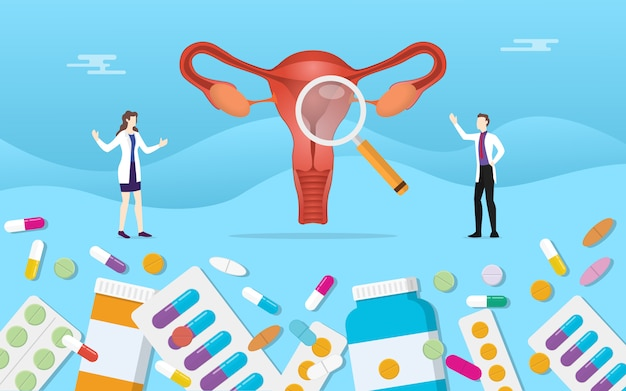 Menselijke ovarium geneeskunde gezondheid met pillen medicatie capsule behandeling