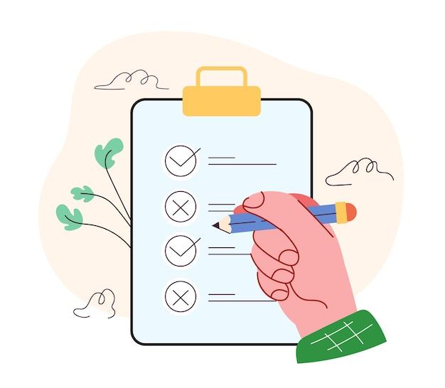 Menselijke persoon hand zet vinkje in vak met potlood klembord met checklist vragenlijst concept vector plat geïsoleerde moderne stijl illustratie
