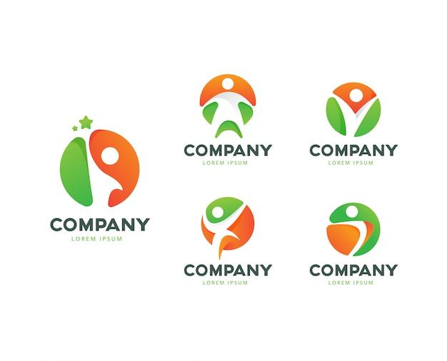 Menselijke pose cirkel logo collectie