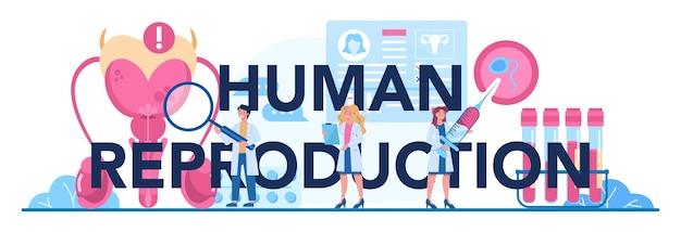 Menselijke reproductie typografische koptekst. menselijke anatomie, biologisch materiaalonderzoek.