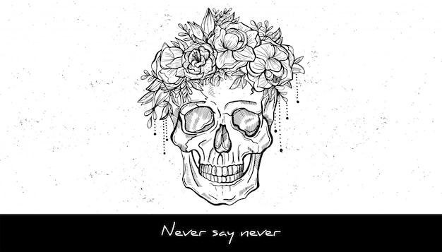 Menselijke schedel en krans van bloemen schets tattoo ontwerp. hand getekende vectorillustratie