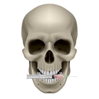 Menselijke schedel en spuit