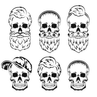 Menselijke schedel met baard en snor zwart silhouet