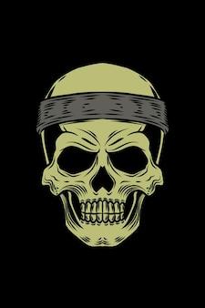 Menselijke schedel met bandana vectorillustratie