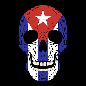 Menselijke schedel met cubaanse geïsoleerde vlag