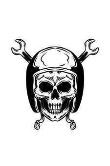 Menselijke schedel met helm met sleutel vectorillustratie
