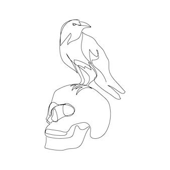 Menselijke schedel met kraai één lijntekeningen doorlopende lijntekening van halloween herfststemming zwarte vogel