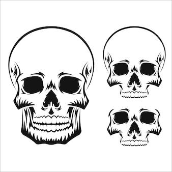 Menselijke schedel zwart silhouet