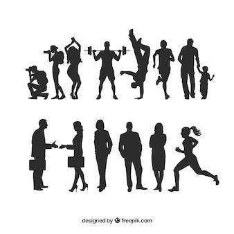 Menselijke silhouetten pakken
