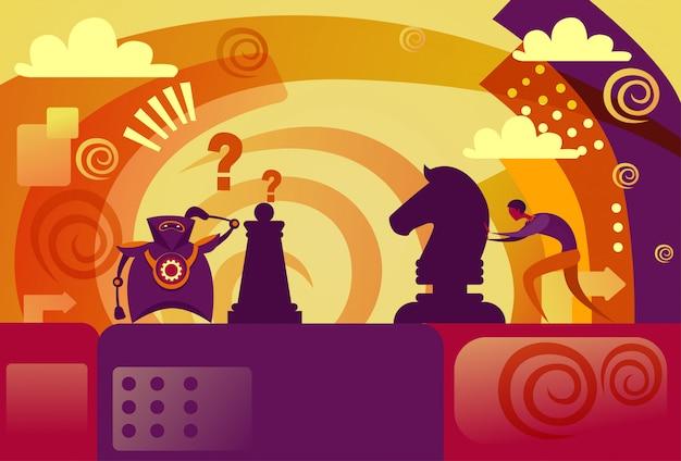 Menselijke versus kunstmatige intelligentie bedrijfsmens die schaak met moderne robot spelen