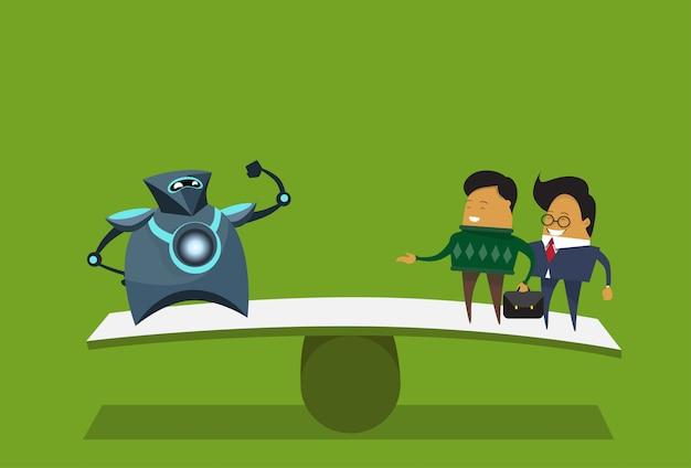 Menselijke versus robots moderne robotachtige en bedrijfsmensen over groene achtergrond kunstmatige intelligentieconcept