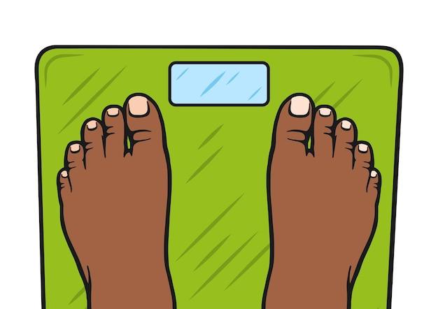 Menselijke voeten staan op de weegschaal