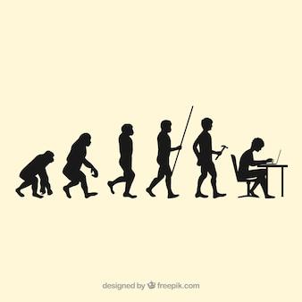 Menselijke werknemers evolutie silhouetten