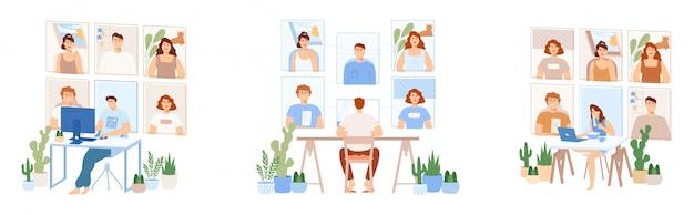 Mensen aan het chatten. videovergadering of online conferentie. mensen zitten thuis aan de balie, kletsen in de hoed of met vrienden.