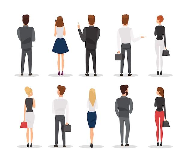 Mensen achteraanzicht illustraties set kantoorpersoneel gebaren stripfiguren
