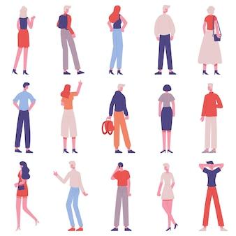 Mensen achteraanzicht. mannelijke en vrouwelijke karakters van de achterkant die samen geïsoleerde reeks staan