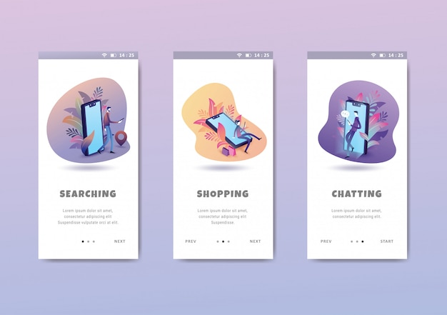 Mensen activiteit concept onboarding schermen user interface kit sjabloon