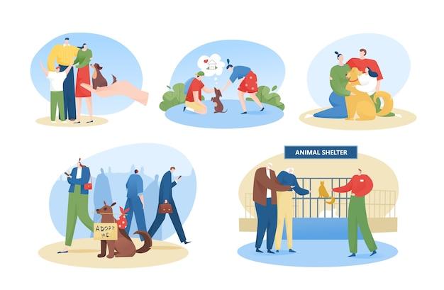 Mensen adopteren hond platte illustraties set