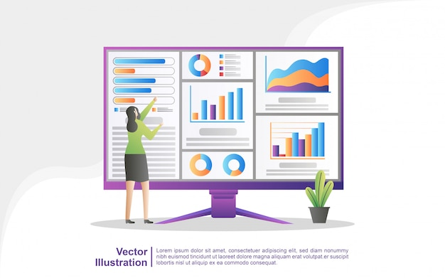 Mensen analyseren grafiekbewegingen en bedrijfsontwikkeling.