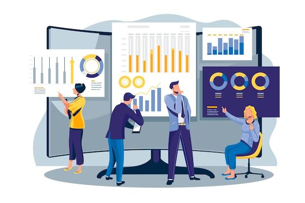 Mensen analyseren groeigrafieken