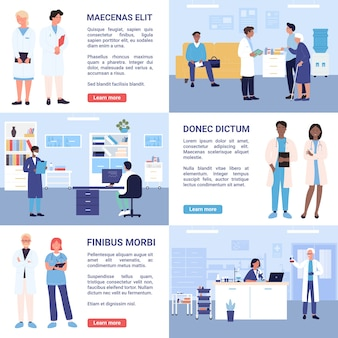 Mensen arts en verpleegkundige werken op ziekenhuisafdelingen