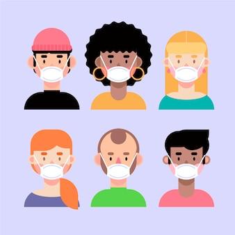 Mensen avatar dragen medische maskers