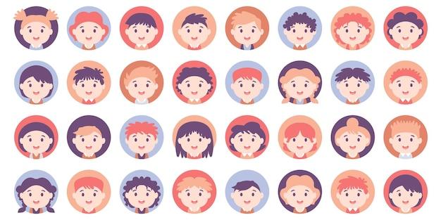 Mensen avatar grote bundel set. amerikaanse tieners en kinderen verschillende avatar. collectie van schooljongen en schoolmeisje. voor videogame, internetforum, account. gebruikersfoto, menselijke gezichtspictogrammen in vlakke stijl