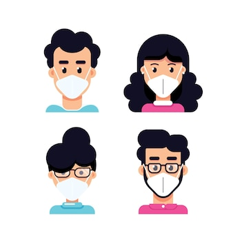 Mensen avatars dragen gezichtsmasker, set van vlakke stijl