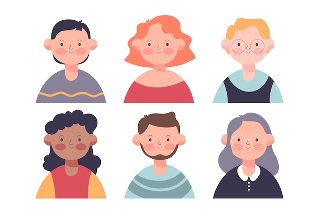 Mensen avatars kleurrijke stijl