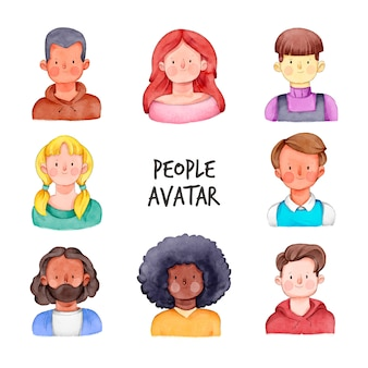 Mensen avatars met jonge gezichten