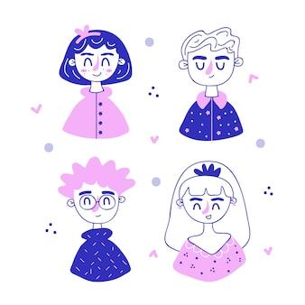 Mensen avatars met minimalistisch design