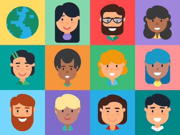 Mensen avatars set, diverse mannen en vrouwen gezichten. platte vectorillustratie van blanke, afro-amerikaanse, aziatische mannelijke en vrouwelijke cartoon zakenmensen, studenten en kantoorpersoneel