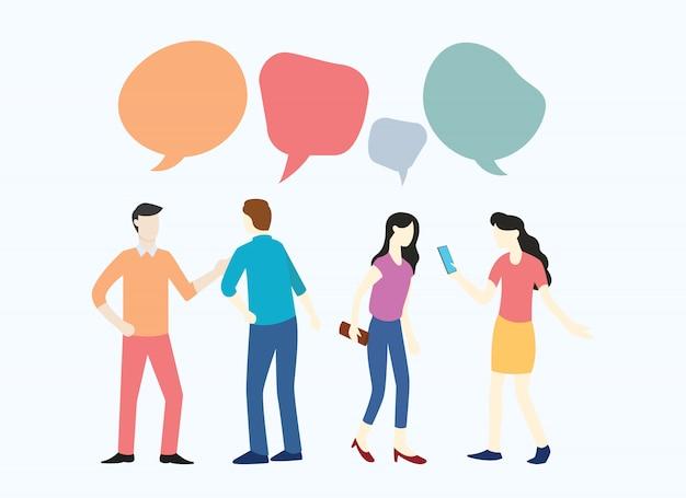 Mensen bedrijfsman en vrouw die over nieuws sociale media bespreken
