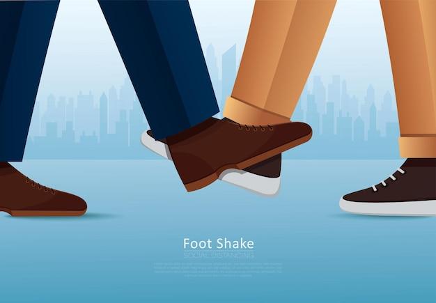 Mensen begroeten met foots foot shake veilige begroeting