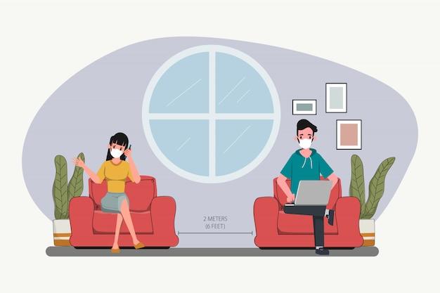Mensen behouden sociale afstand. stop covid-19 coronavirus. nieuwe normale levensstijl op het werk. interieur stripfiguur.