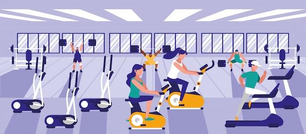 Mensen beoefenen van sport in de sportschool