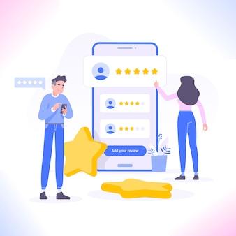 Mensen beoordelen met vijf sterren op mobiele app