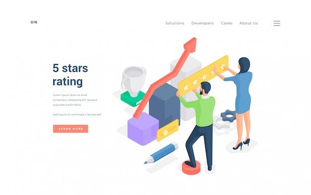 Mensen beoordelen uitstekende service online. isometrische illustratie