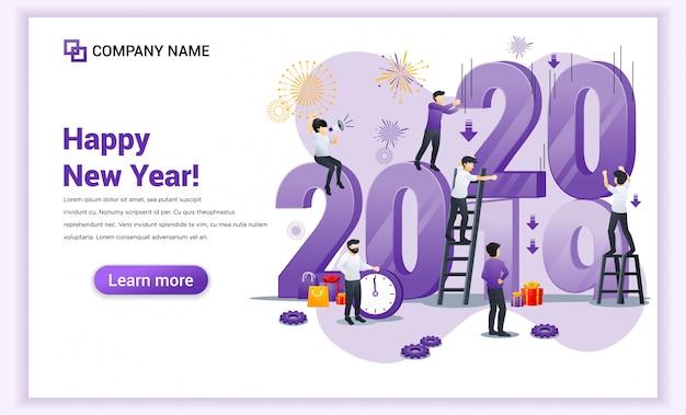 Mensen bereiden zich voor op de banner voor het nieuwe jaar 2020