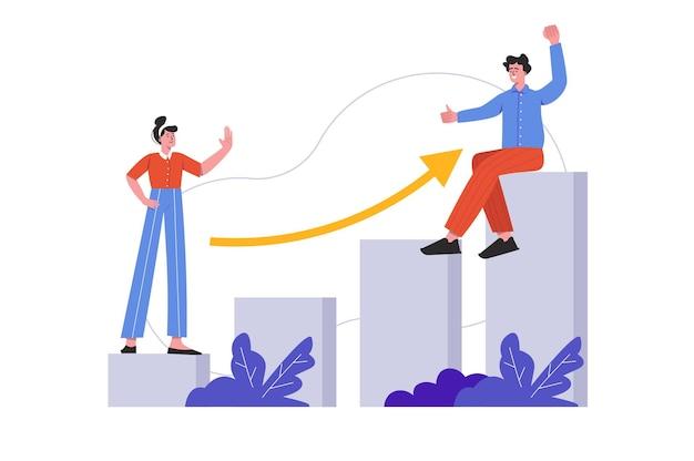 Mensen bereiken carrièredoelen en professionele groei. man en vrouw ontwikkelen carrières, verhogen het inkomen, geïsoleerde scène. motivatie, bedrijfsvooruitgangsconcept. vectorillustratie in plat minimaal ontwerp