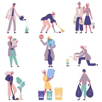 Mensen beschermen, verzorgen de natuur en de ecologische omgeving. eco vriendelijke mensen die planten kweken, afval vector illustratie set sorteren. milieuactivisten. eco-tassen gebruiken, plant water geven