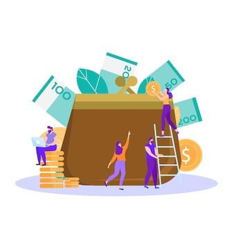 Mensen besparen verzamelen geld bankier op het werk illustratie