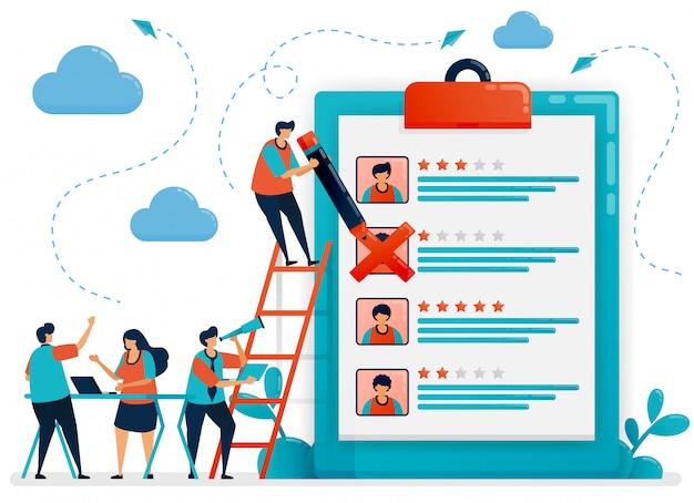 Mensen bespreken het kiezen van de potentiële illustratie van het werknemersconcept