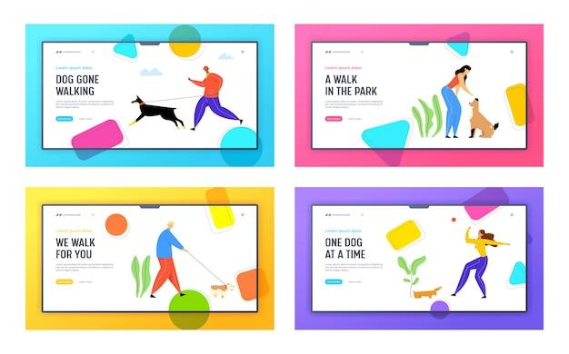 Mensen besteden tijd met huisdieren buitenshuis website bestemmingspagina