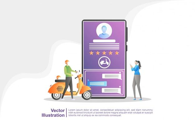 Mensen bestellen transport via de mobiele app.