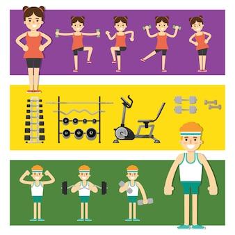 Mensen betrokken bij de gymnastiek, illustratie.