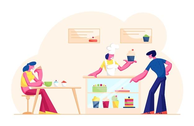 Mensen bezoeken café of bakhuis. verkoopster in glb en schort staan aan balie met gebak cake geven aan klant in bakkerijwinkel. cartoon vlakke afbeelding
