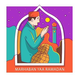 Mensen bidden ramadan start - marhaban yaa ramadan